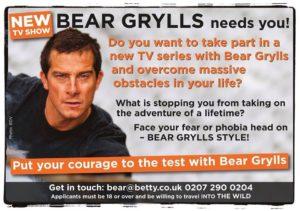 Casting TV Londra: lavora con Bear Grylls!