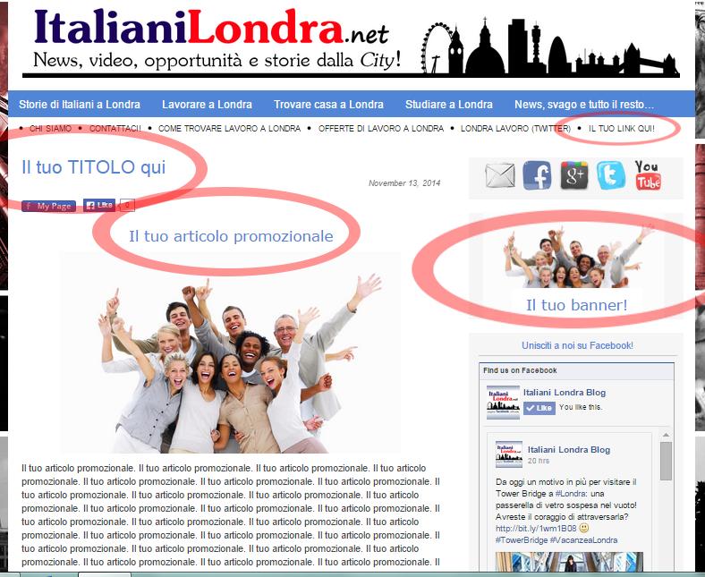 Italiani a Londra: promuoviti con noi!